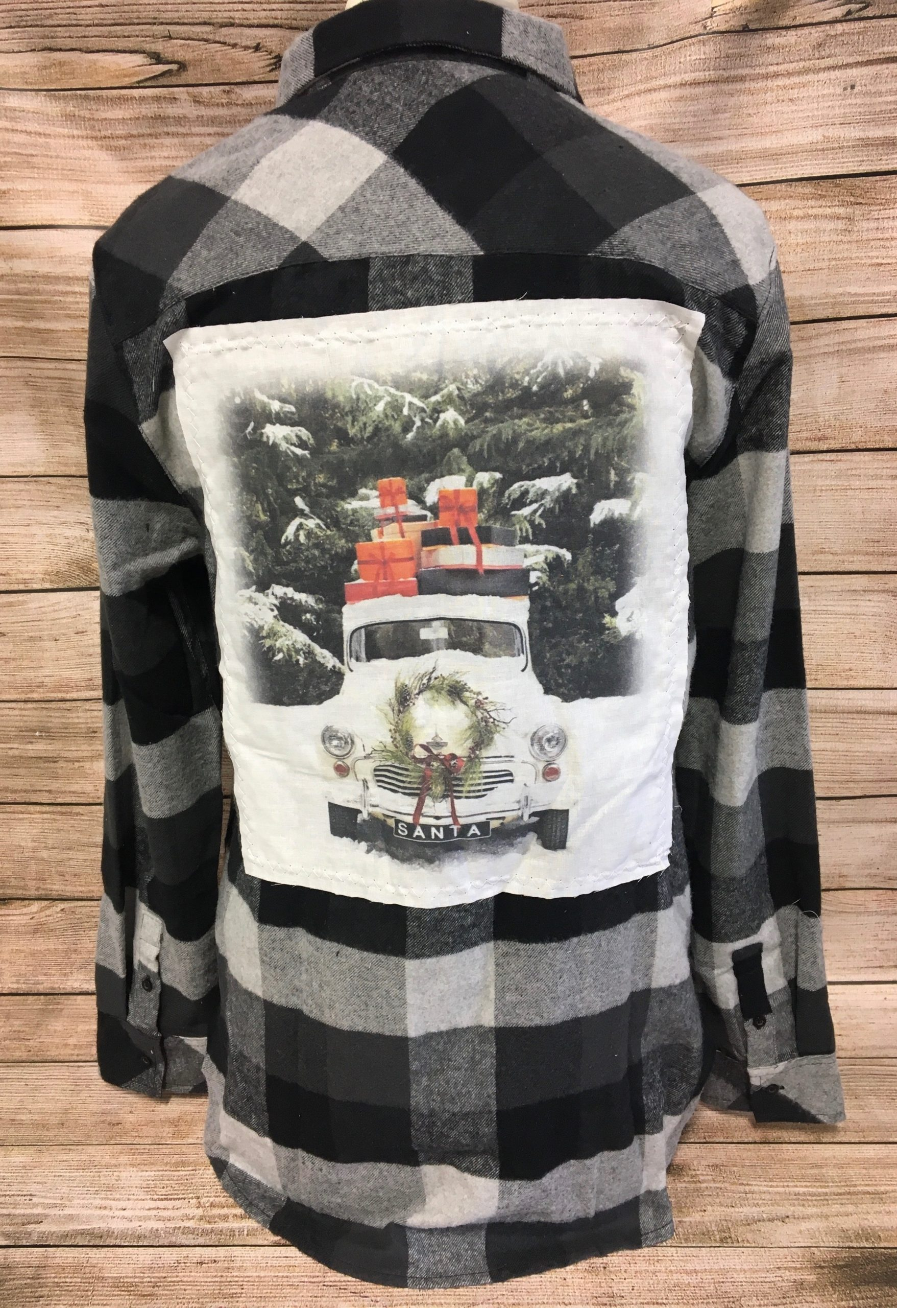 SnowTruck White Patch Black/Gray Flannel Button up Shirt