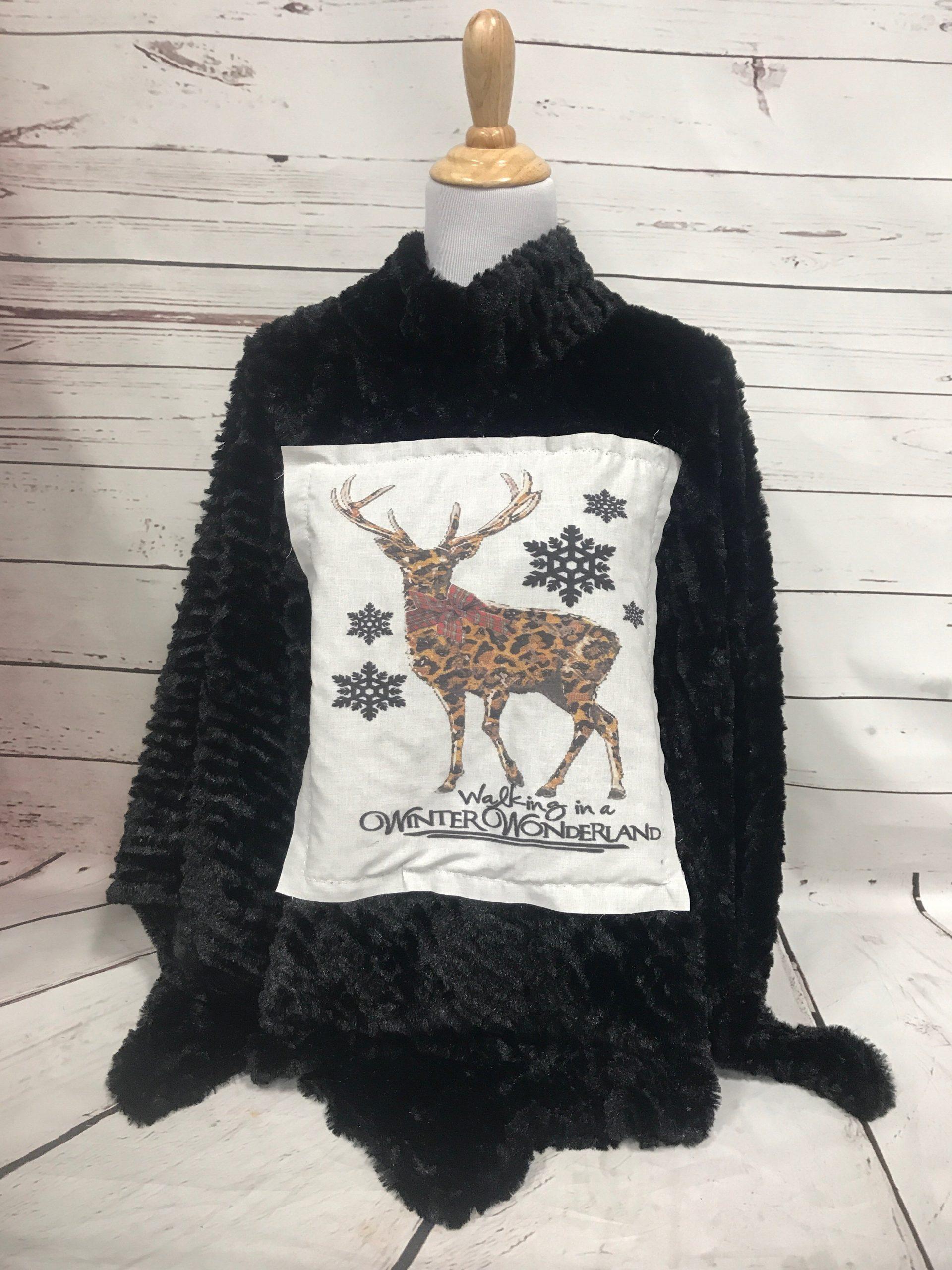 Walking in a Winter Wonderland Patch on Black High Neck Fur Poncho