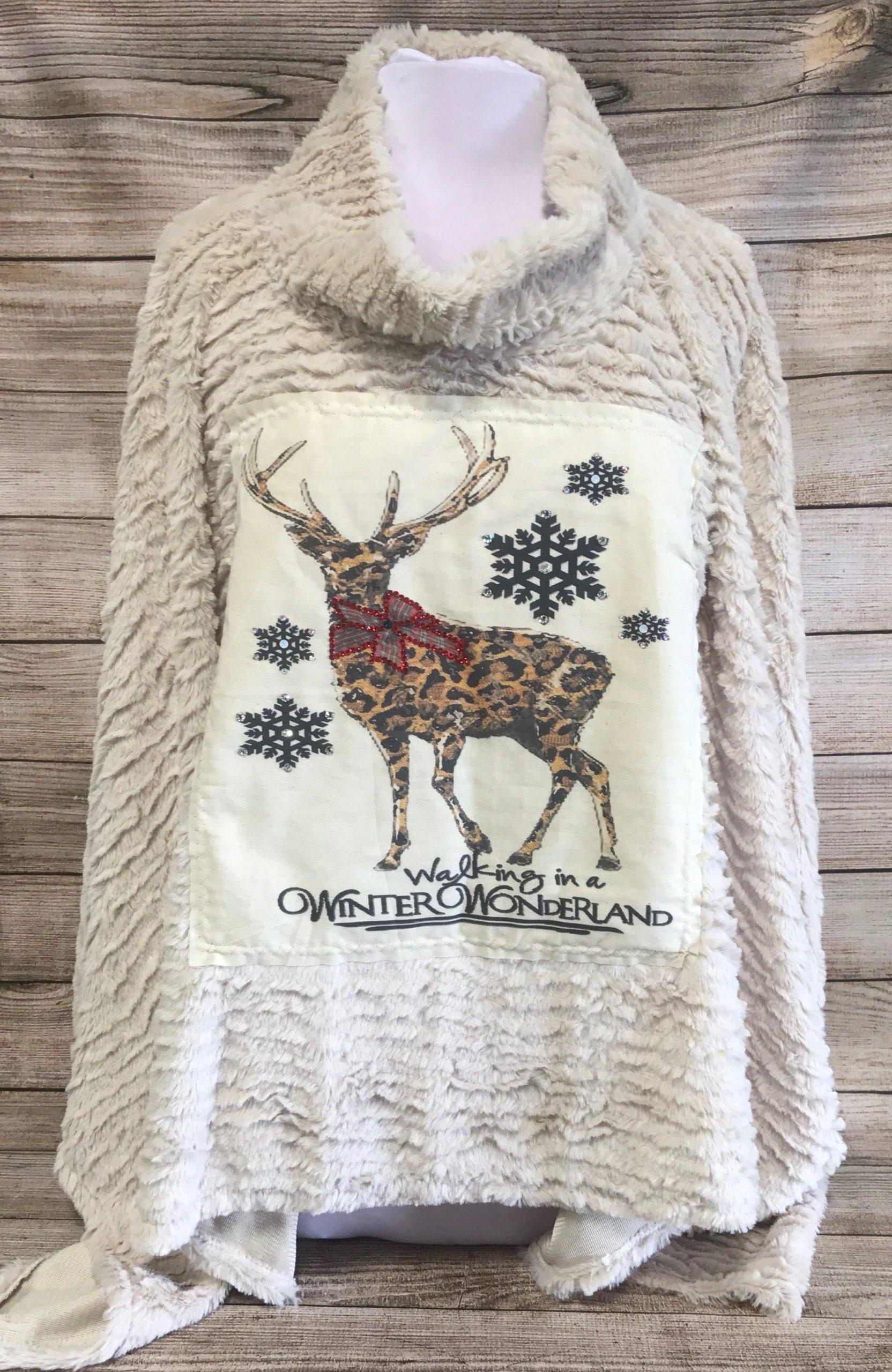Winter Wonderland Deer Patch on Cream Fur Poncho