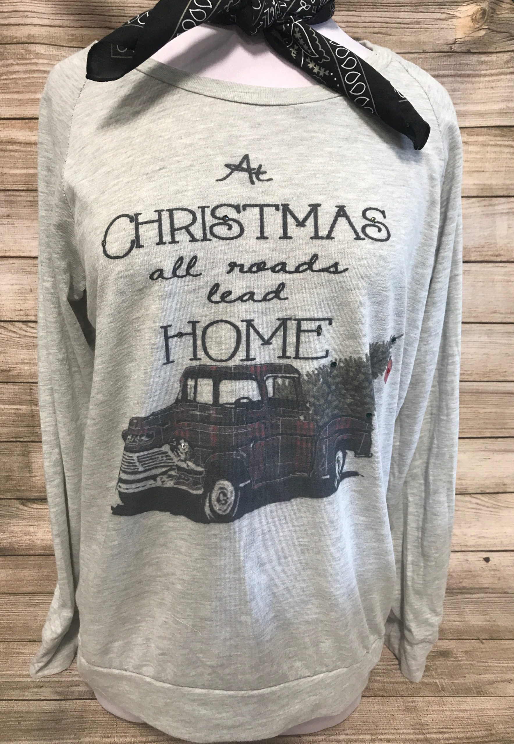 At Christmas All Roads Lead Home Plaid Truck