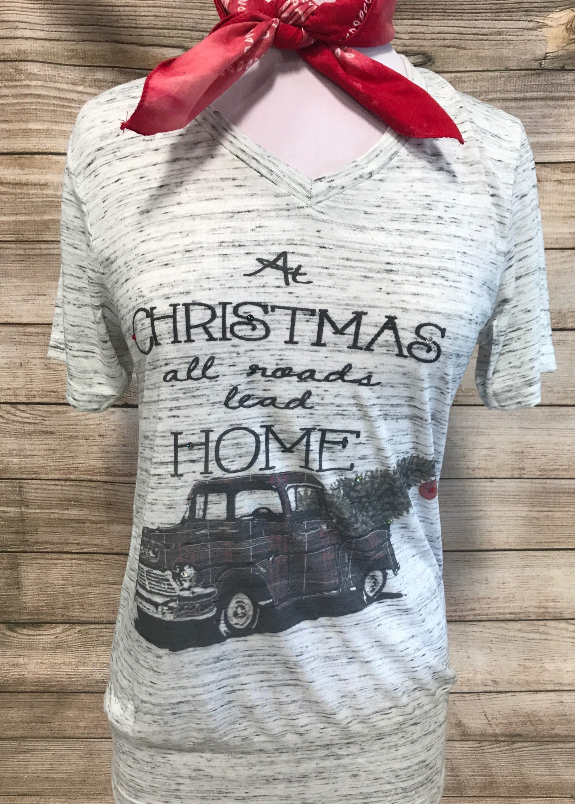 At Christmas All Roads Lead Home Plaid Truck on White Marble Vneck Tee