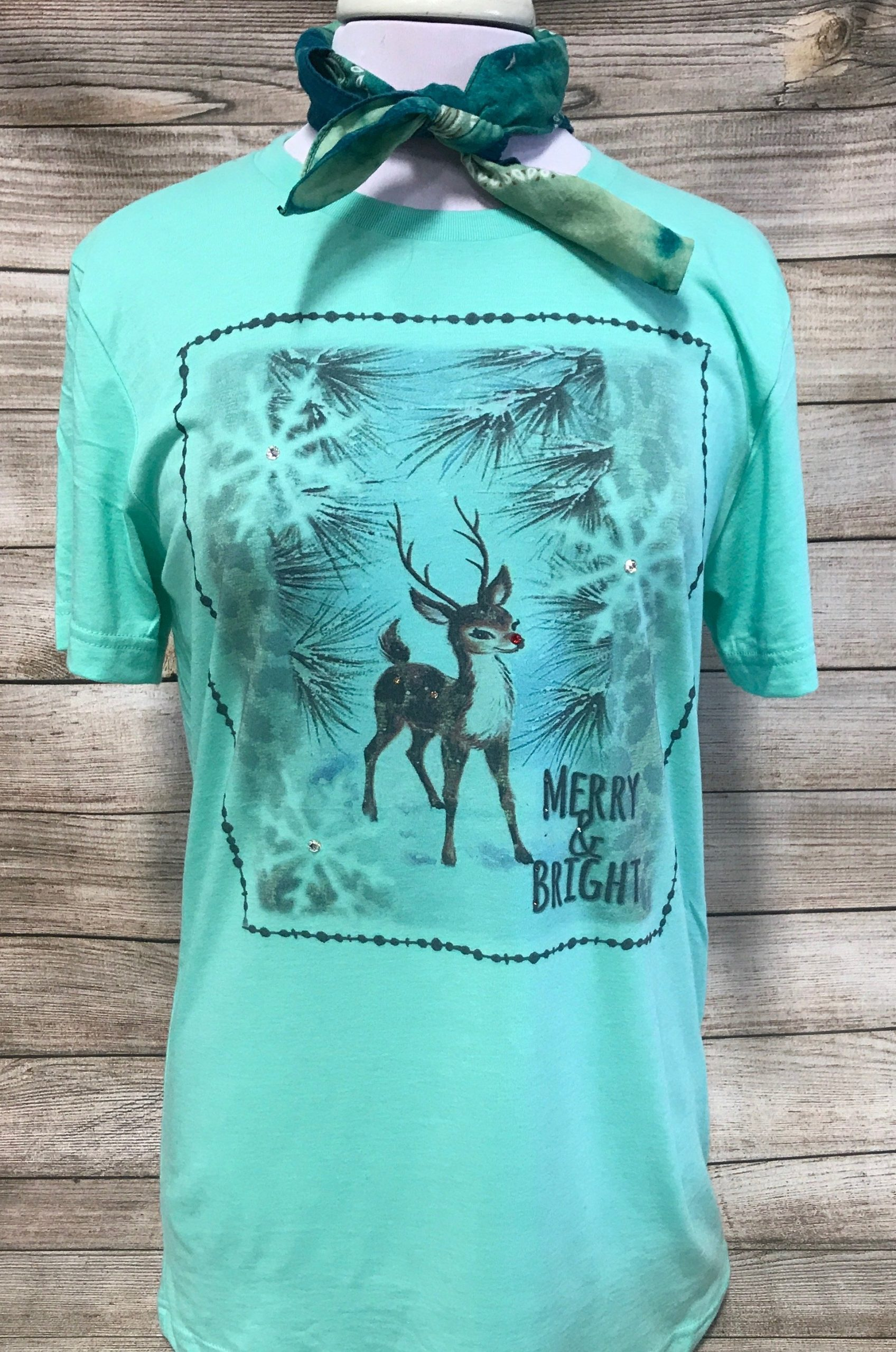 Merry and Bright Leopard Reindeer on Mint Tee