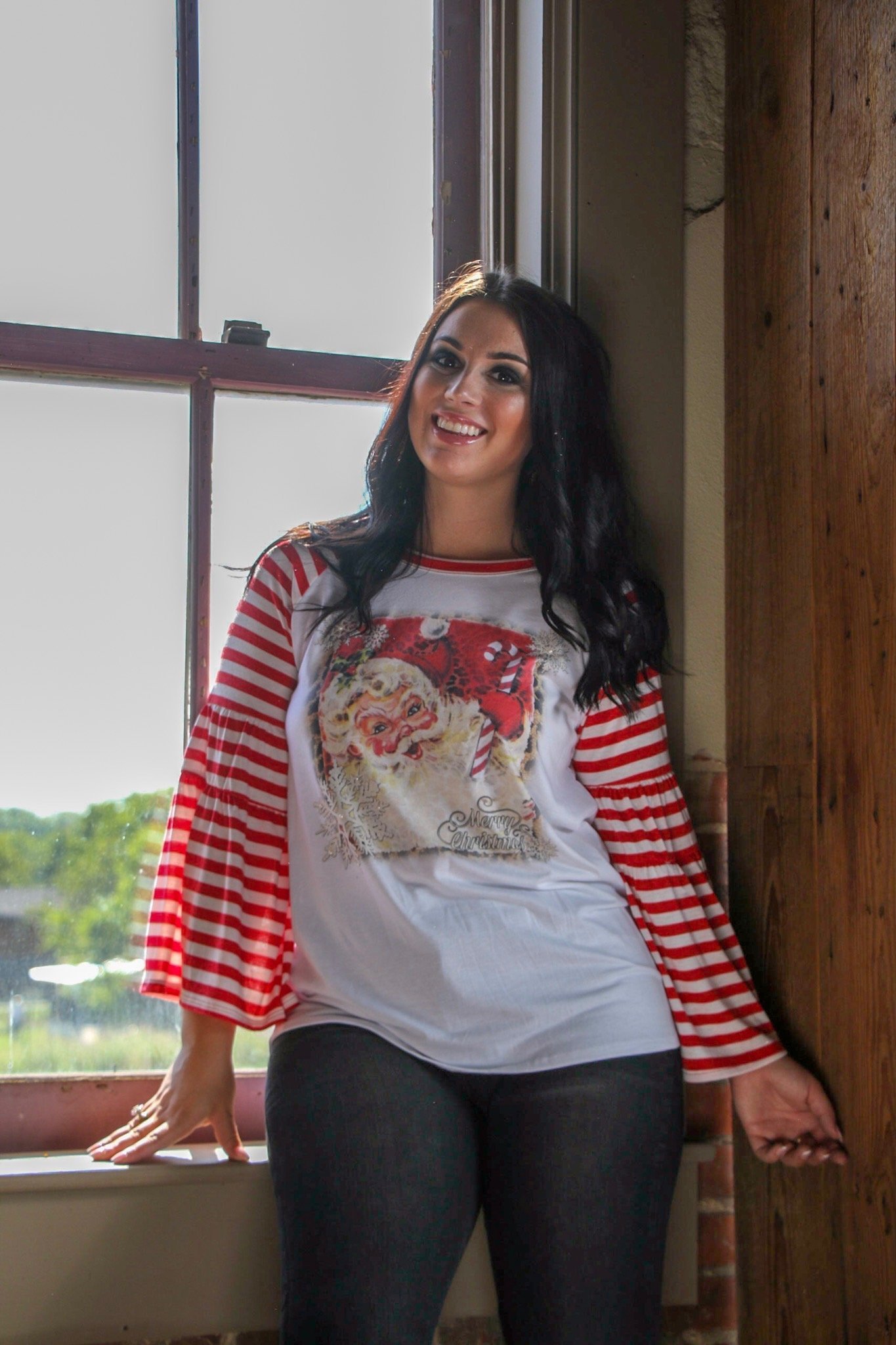 Candy Cane Santa on Red/White Striped Bell Sleeve Tee