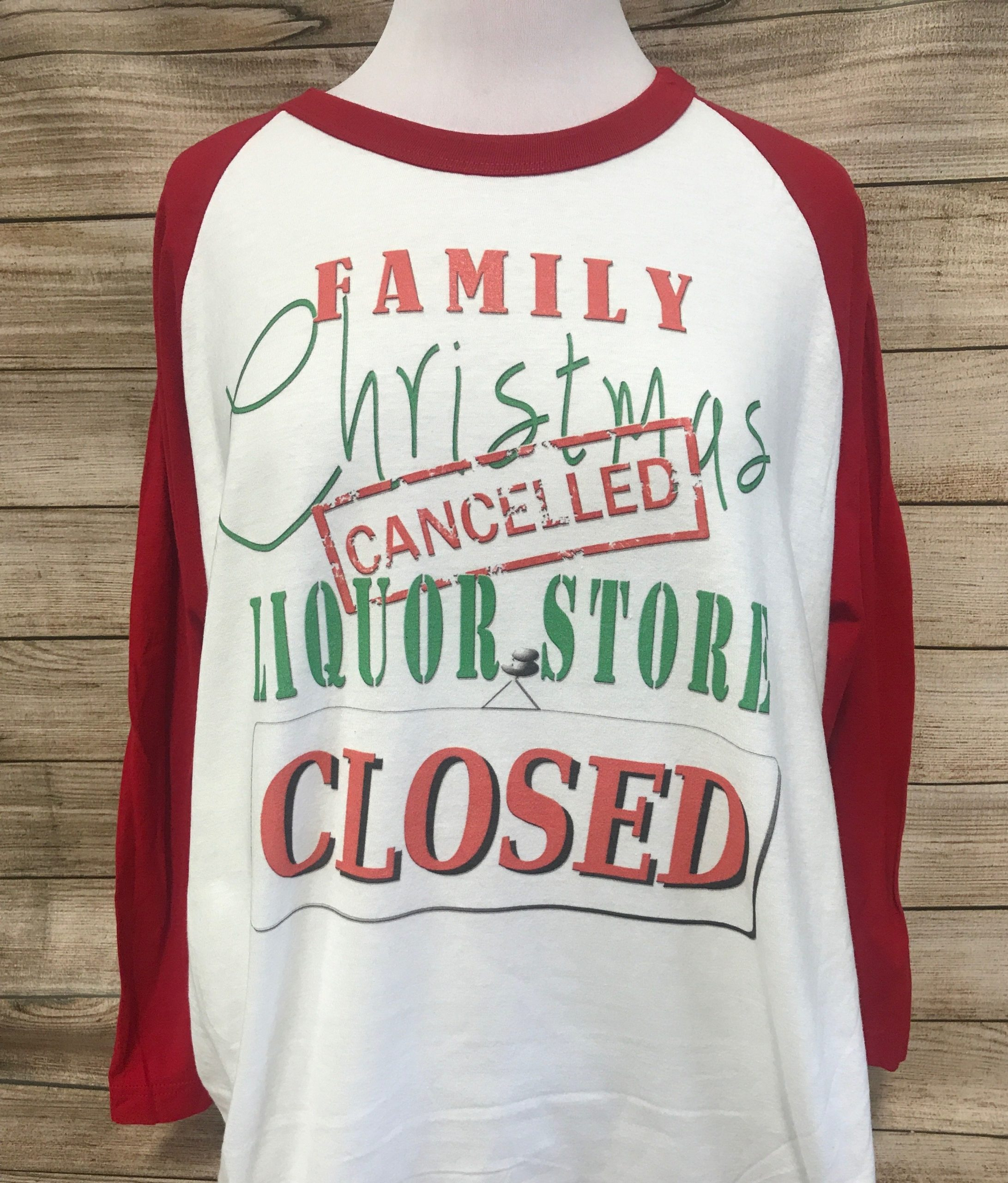Family Christmas Cancelled on White Red Baseball Tee