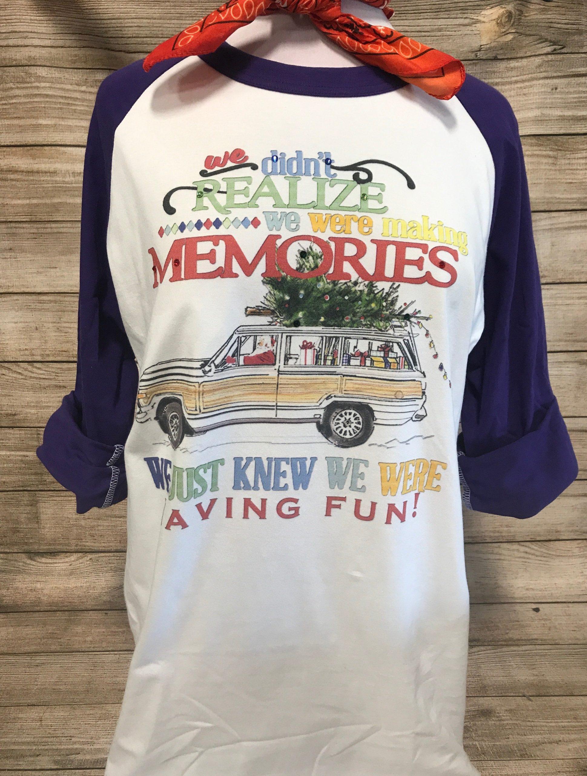 Making Memories Santa Station Wagon on Purple Baseball Tee