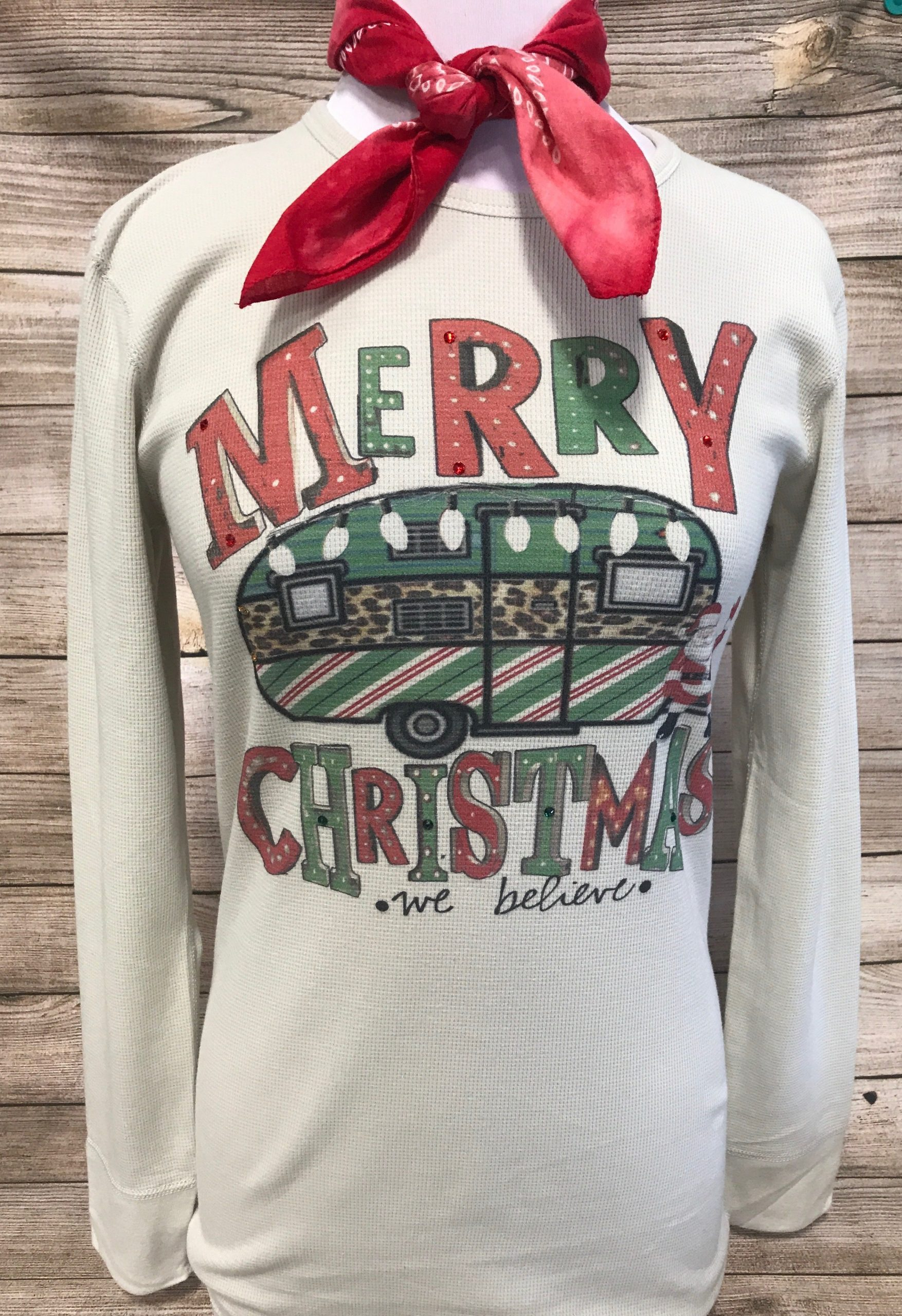 Merry Christmas Camper on Thermal Tee