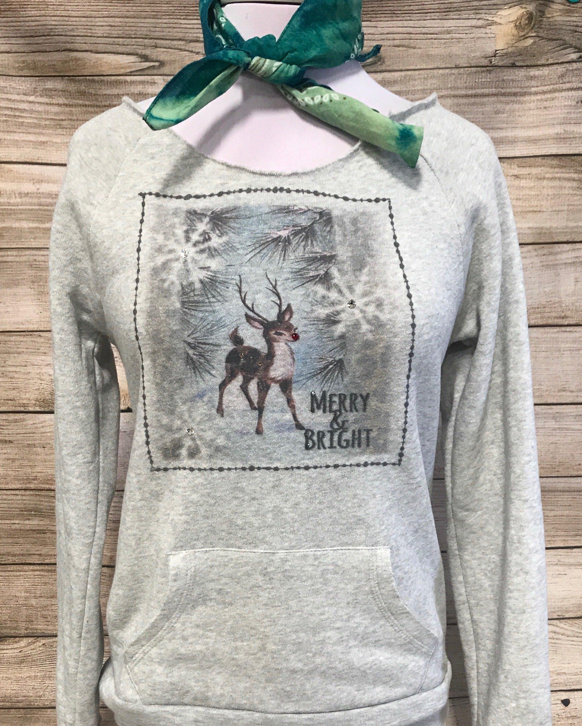 Merry & Bright Leopard Reindeer on Gray Maniac Sweater