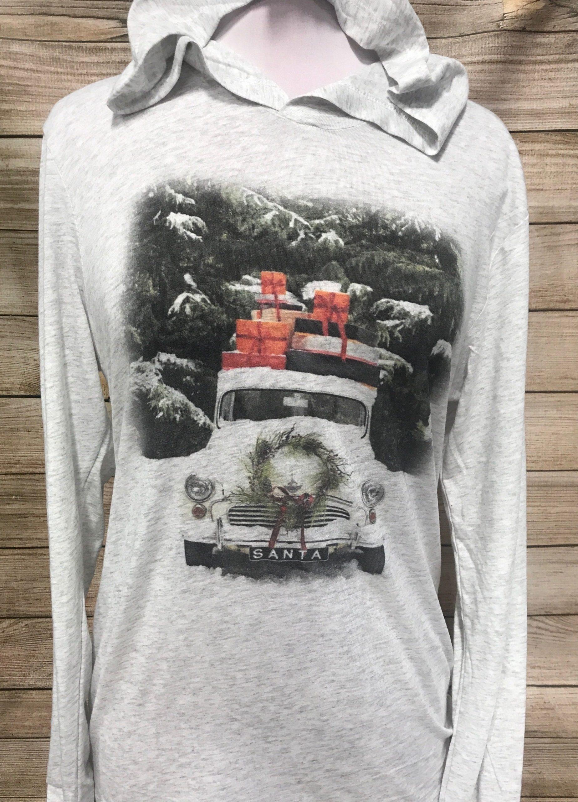 Vintage Snow Truck on Light Gray Hoodie