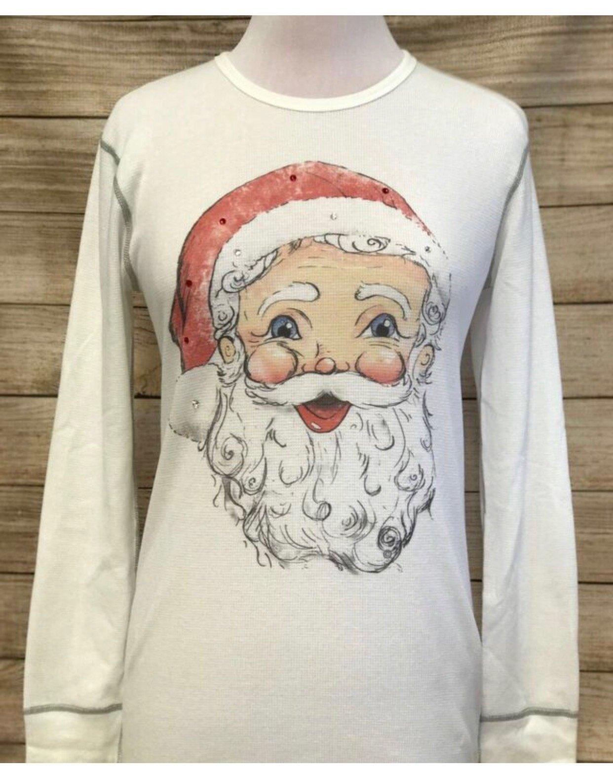 Santa Tody on White w/ Gray Stitching Thermal Tee