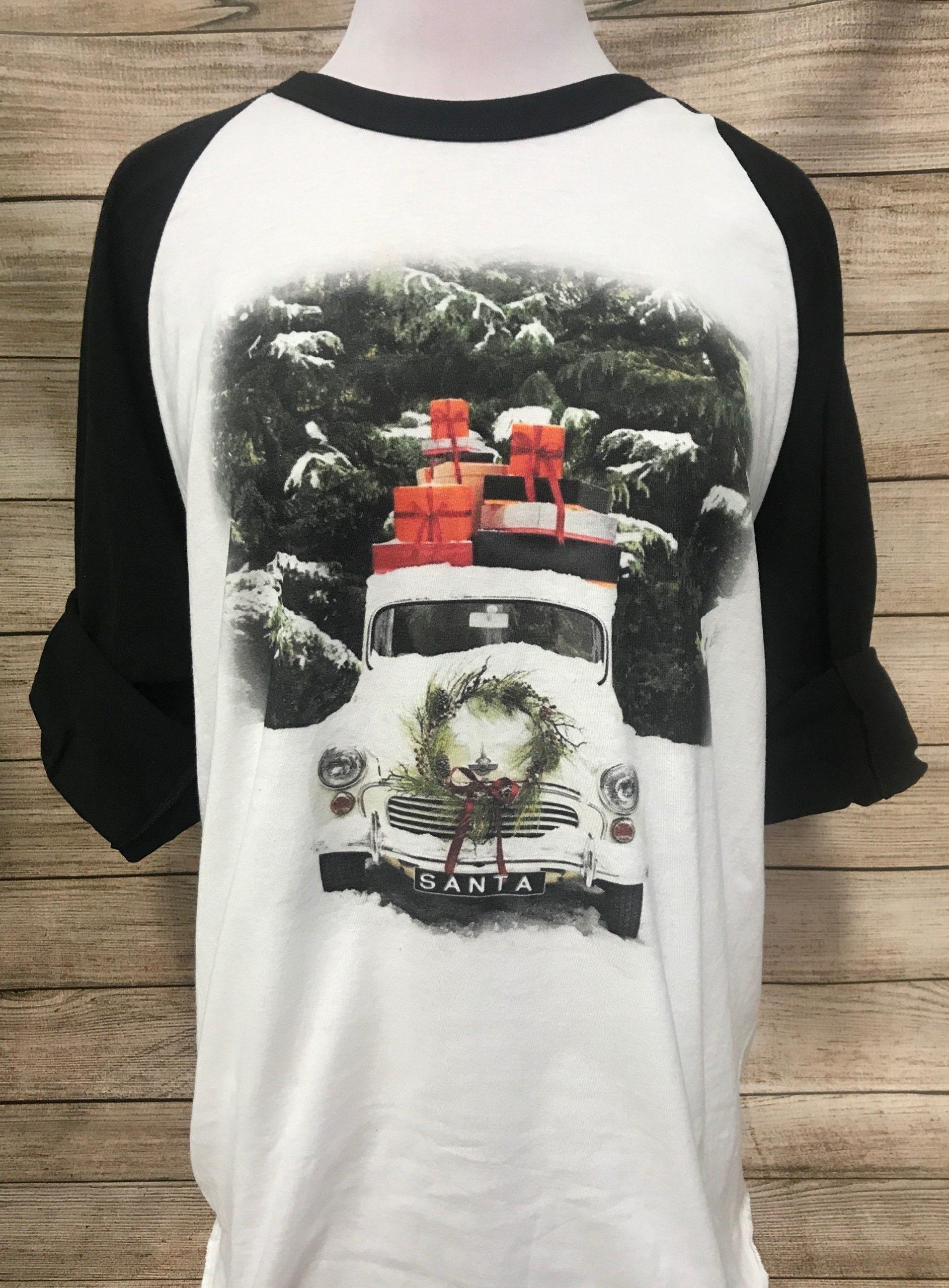 Vintage Snow Truck on White Black Sleeve Tee