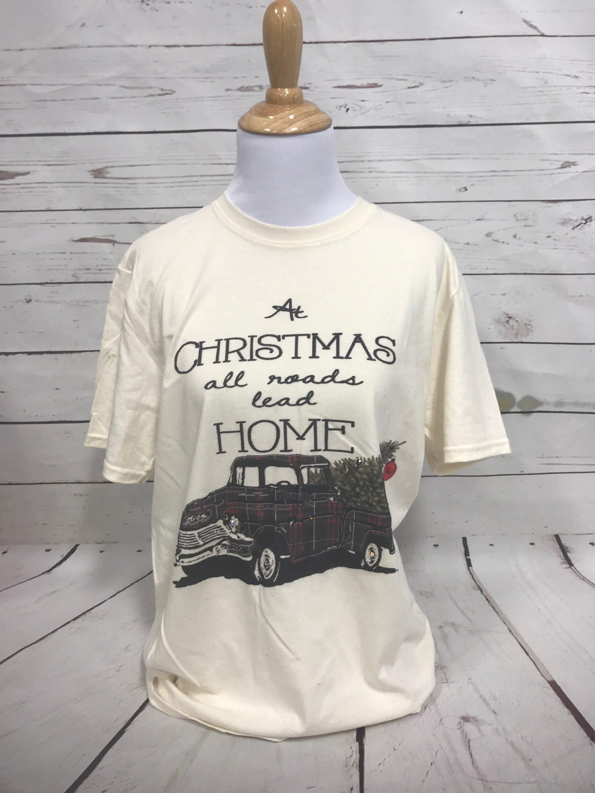 Christmas All Roads Lead Home Plaid Truck on Cream Tultex