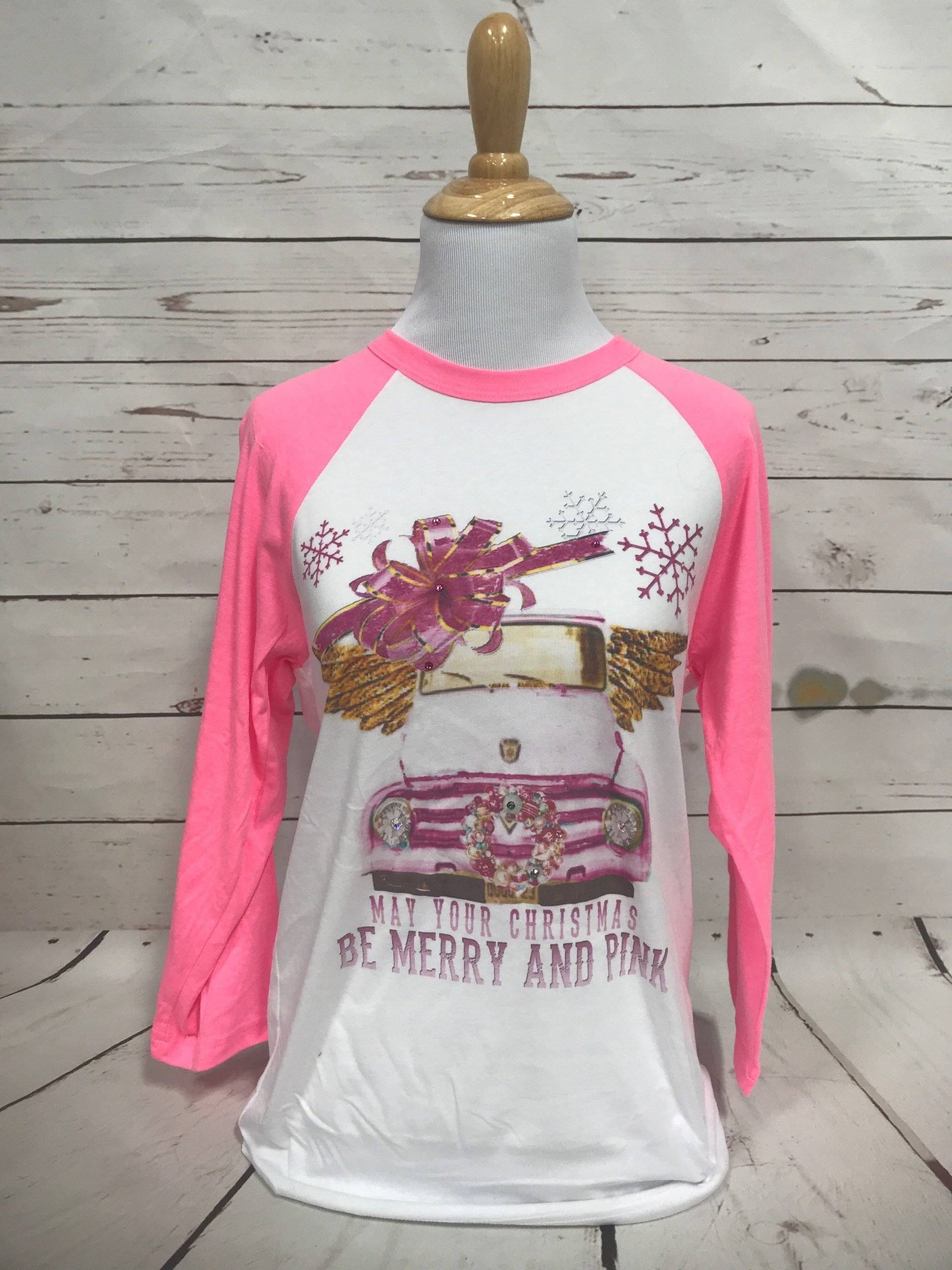 Merry and Pink on Neon Pink Baseball Sleeve