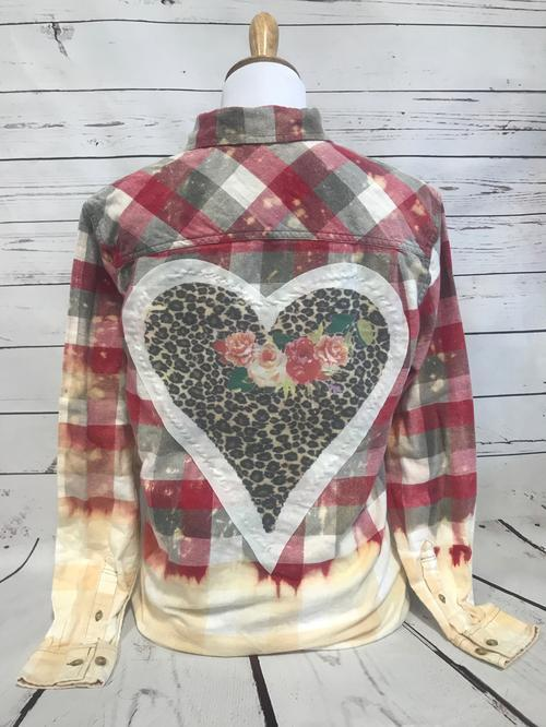 Leopard Heart Patch Red Red/Gray/White Bleached Flannel