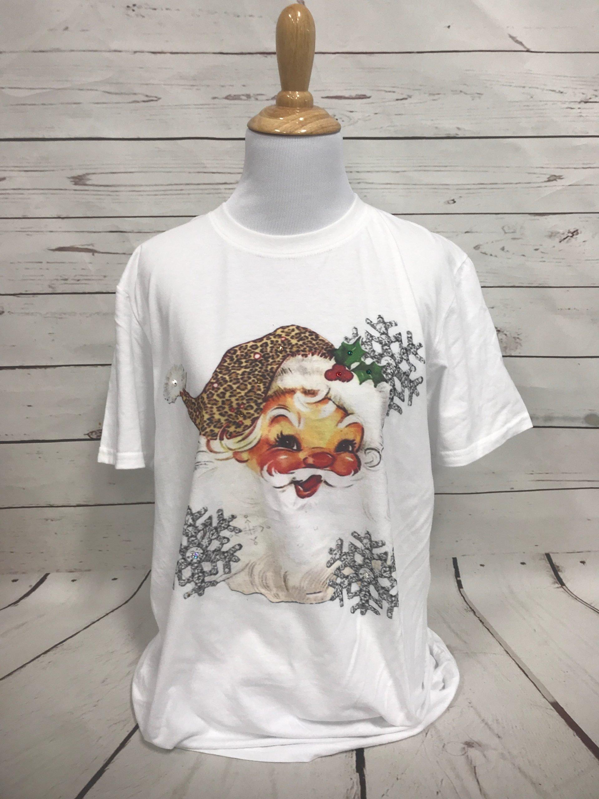 Snowflake Santa Leopard Hat on White Tultex