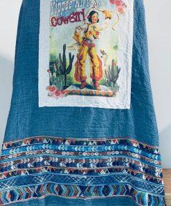 Yippie Ki-Yay! Cowgirl Patch on Denim Serape Kimono