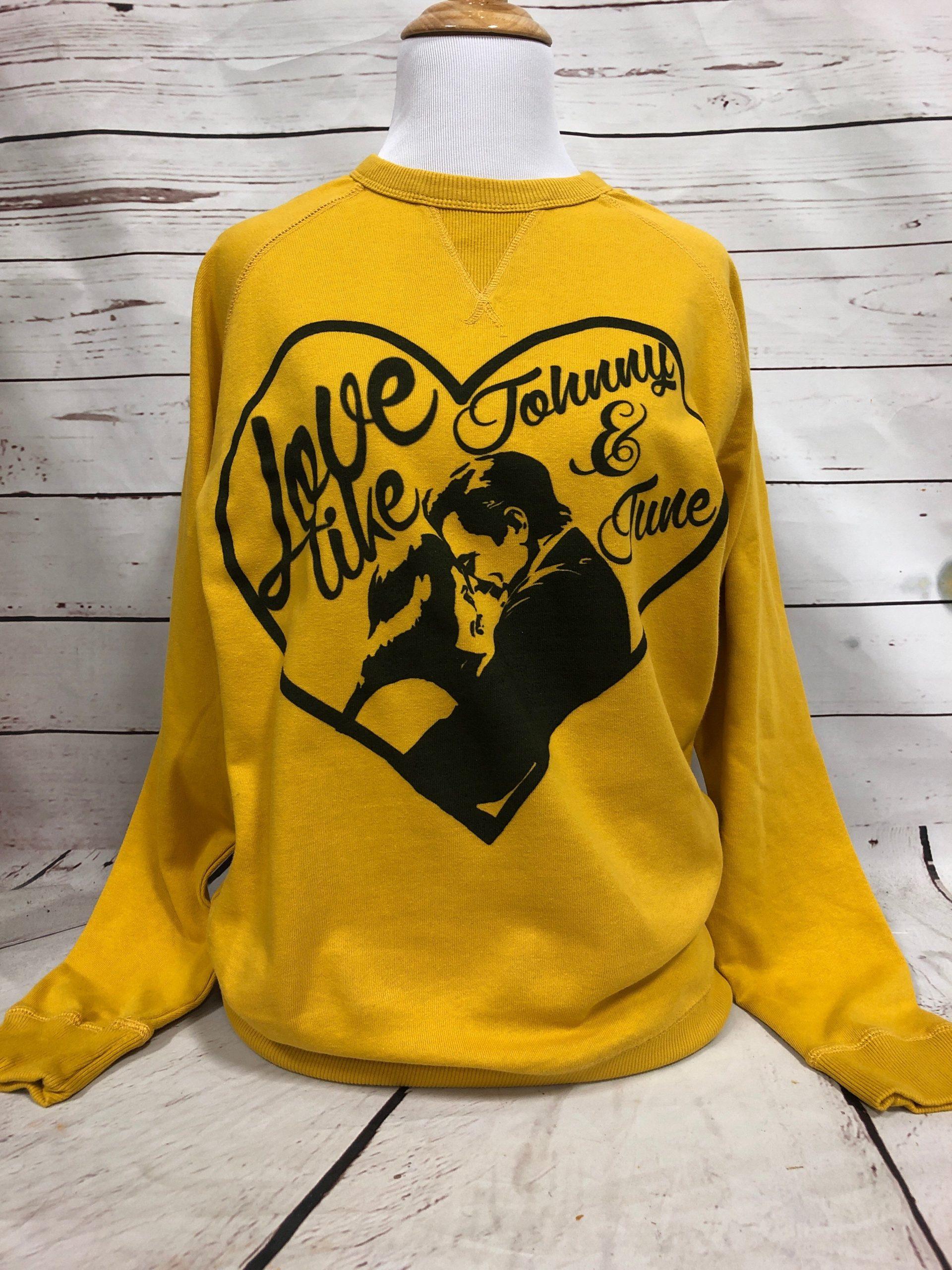 Love like Johnny & June on Mustard Sweatshirt