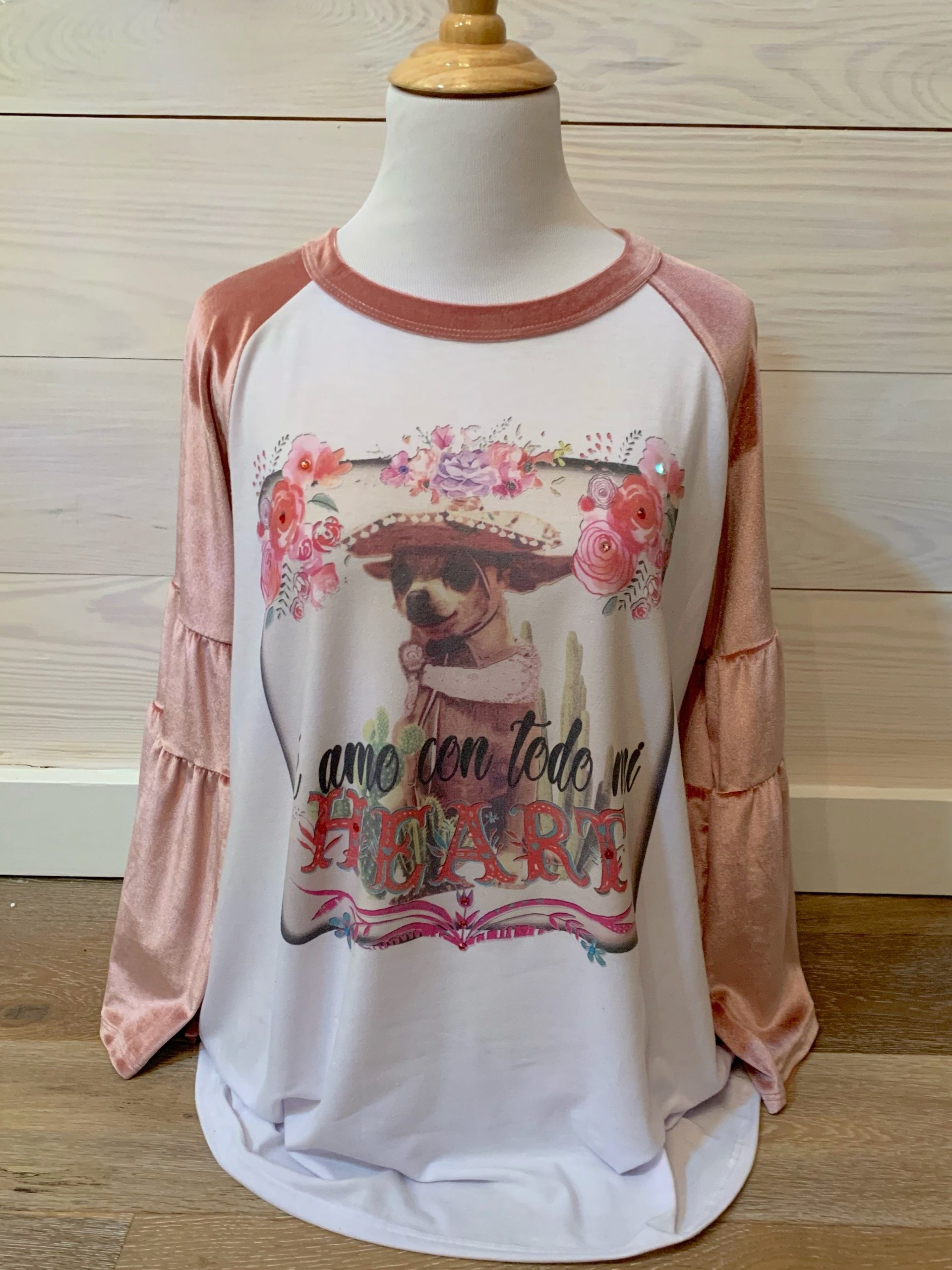 Love You With All My Heart on Pink Velvet Bell Sleeve Tee
