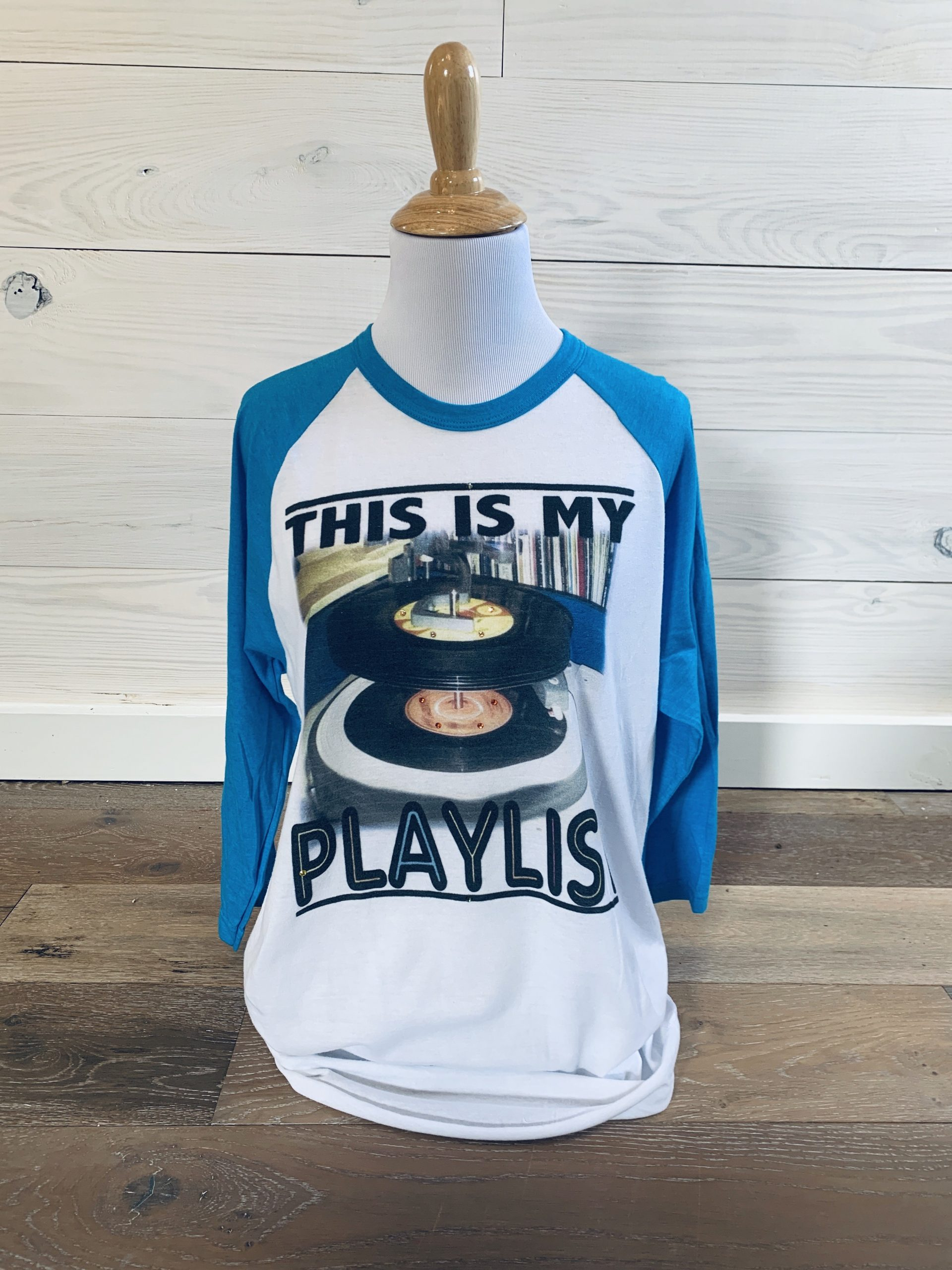 This is My Playlist on Blue Baseball Tee