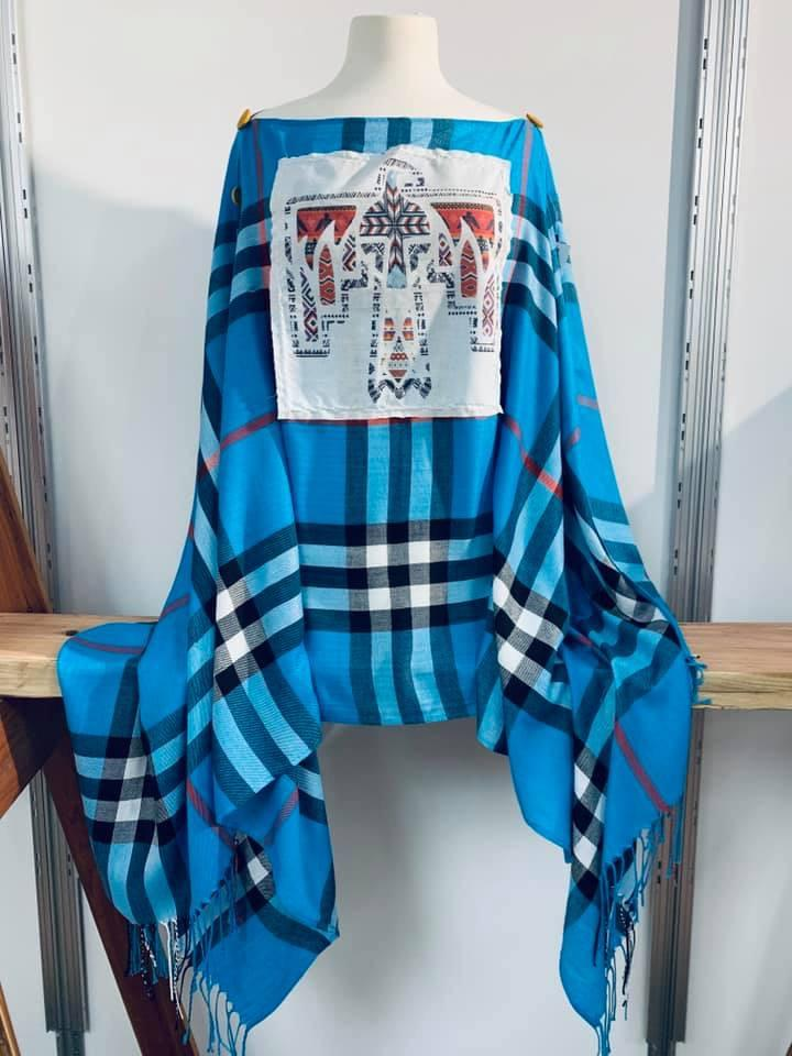 Thunderbird Patch on Turquoise Poncho/Pullover