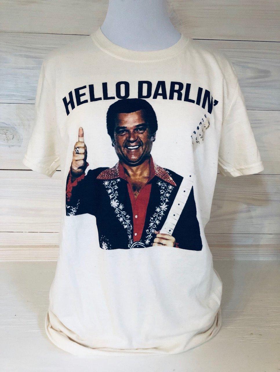 Hello Darlin' on Cream Tultex Tee