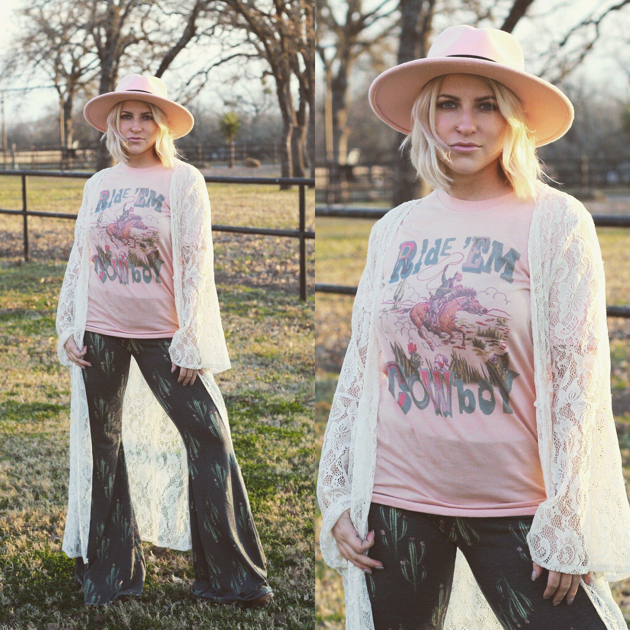 Ride Em Cowboy Peach Flowy Muscle Tank