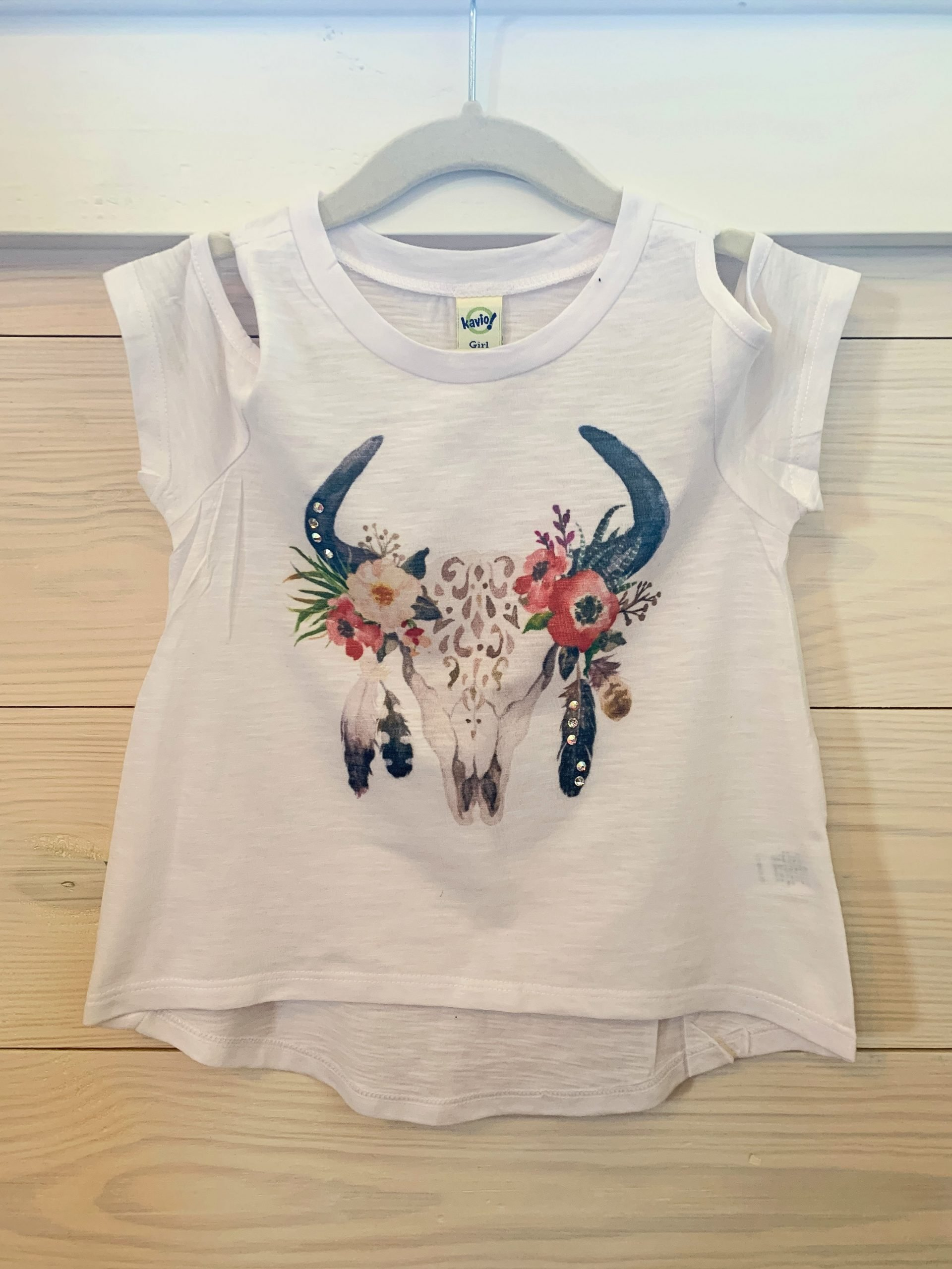 Aztec Skull with Feathers on White Cold Shoulder Youth Tee