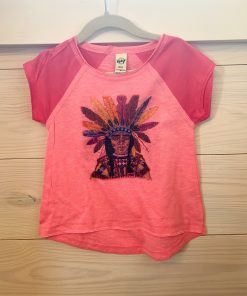 Distressed Indian on Pink Flash Watermelon Youth Tee