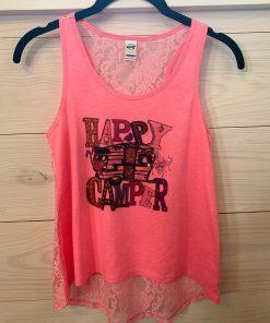 Happy Camper Pink Flash on Lace Back Tween Tank