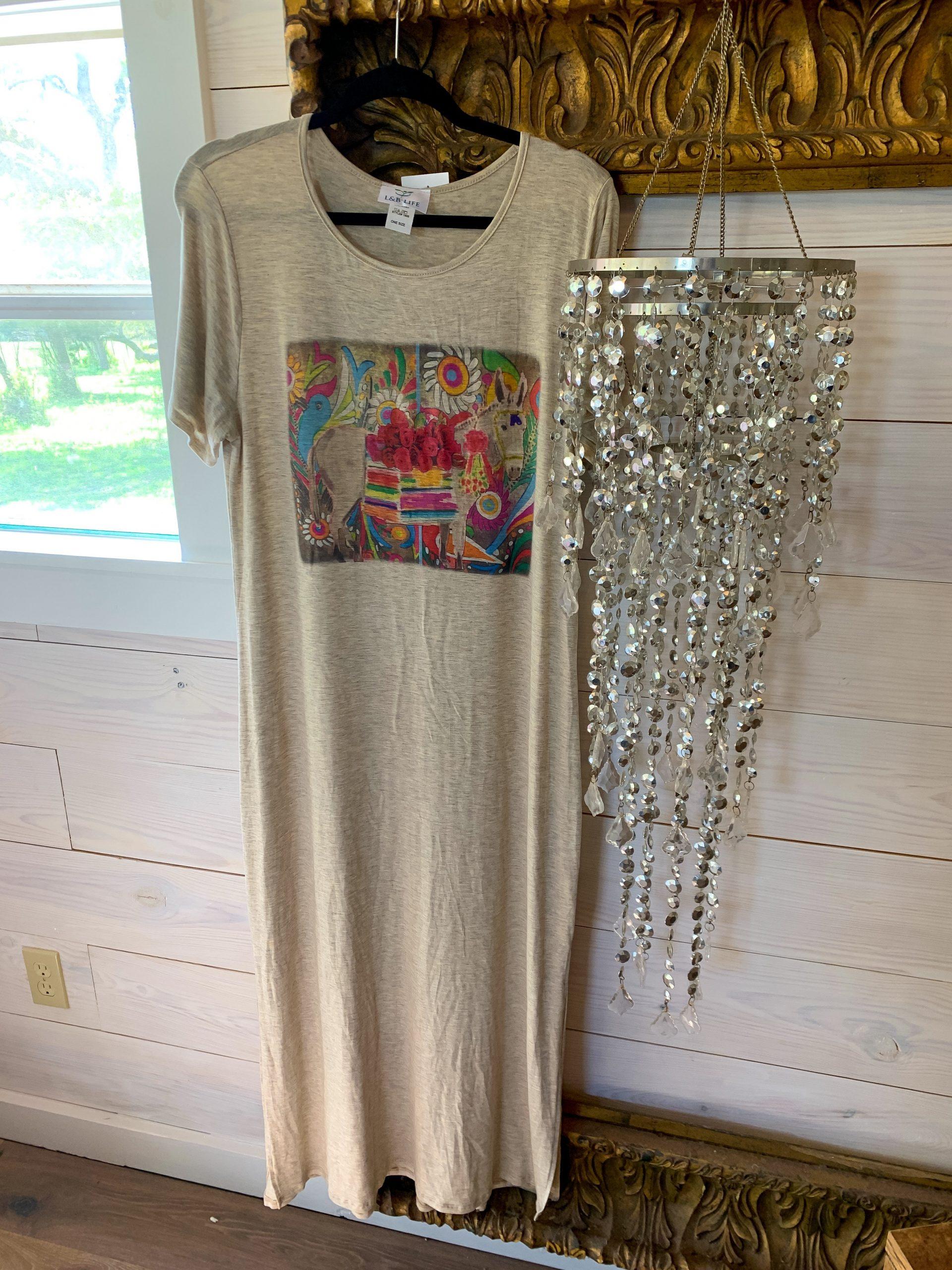 Donkey & Bird Fiesta on Oatmeal Tshirt Dress