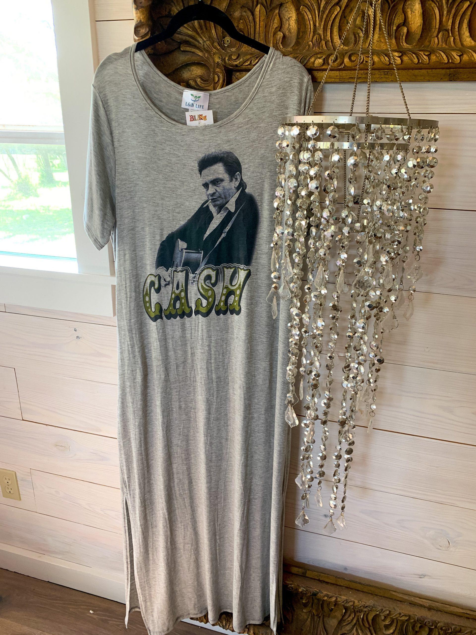 Johnny Cash on Gray Tshirt  Dress