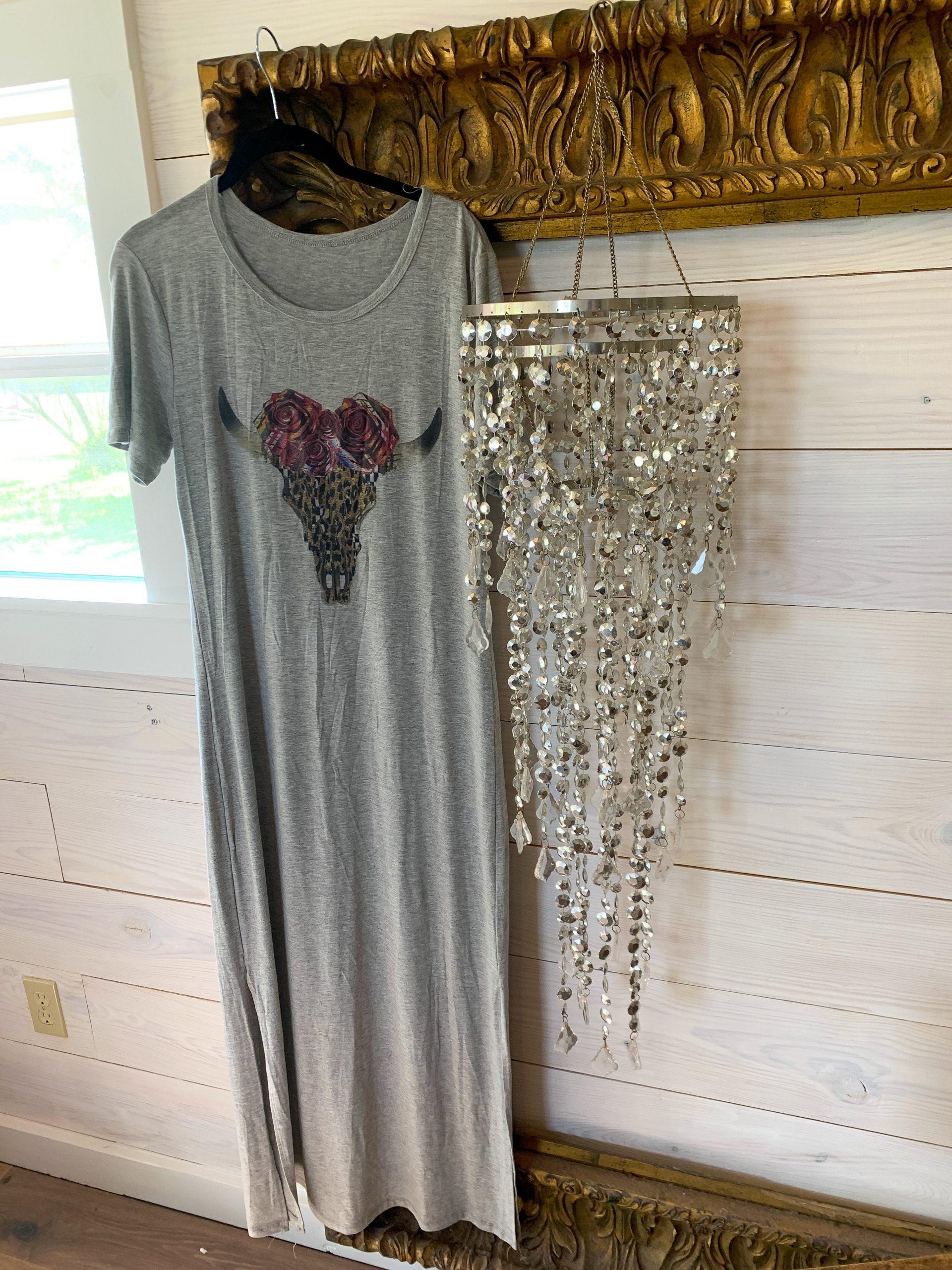 Leopard Skull on Gray Tshirt Dress