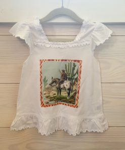 Plaid Cowboy on White Lacey Youth Top