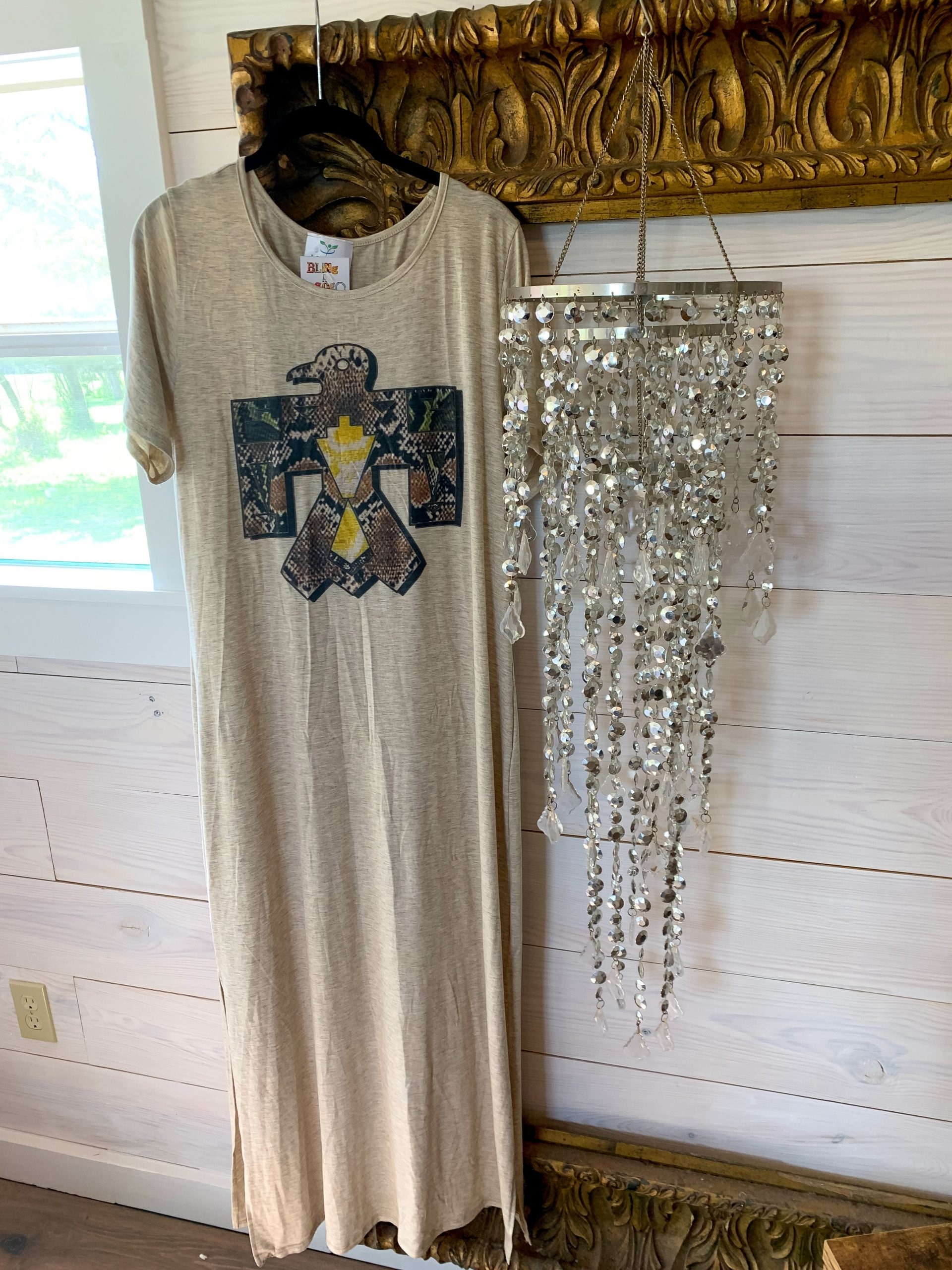 Snakeskin Thunderbird on Oatmeal Tshirt Dress