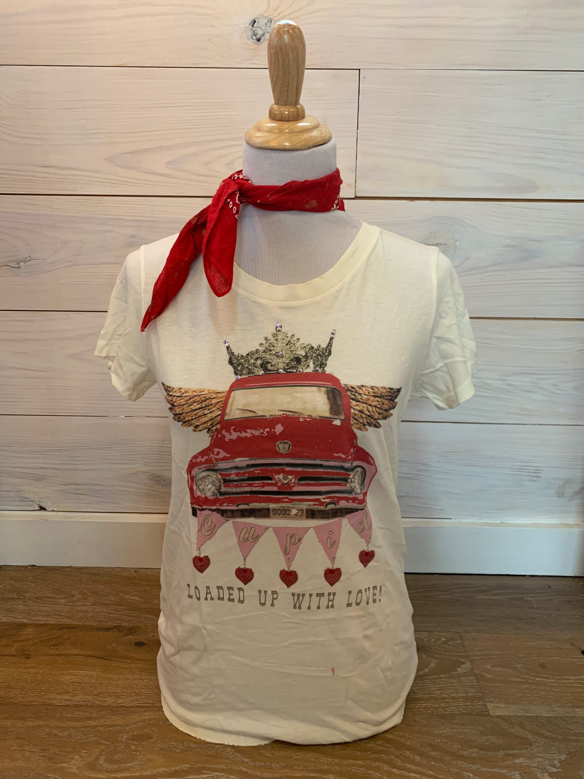Loaded Up With Love Cream Distressed Tee