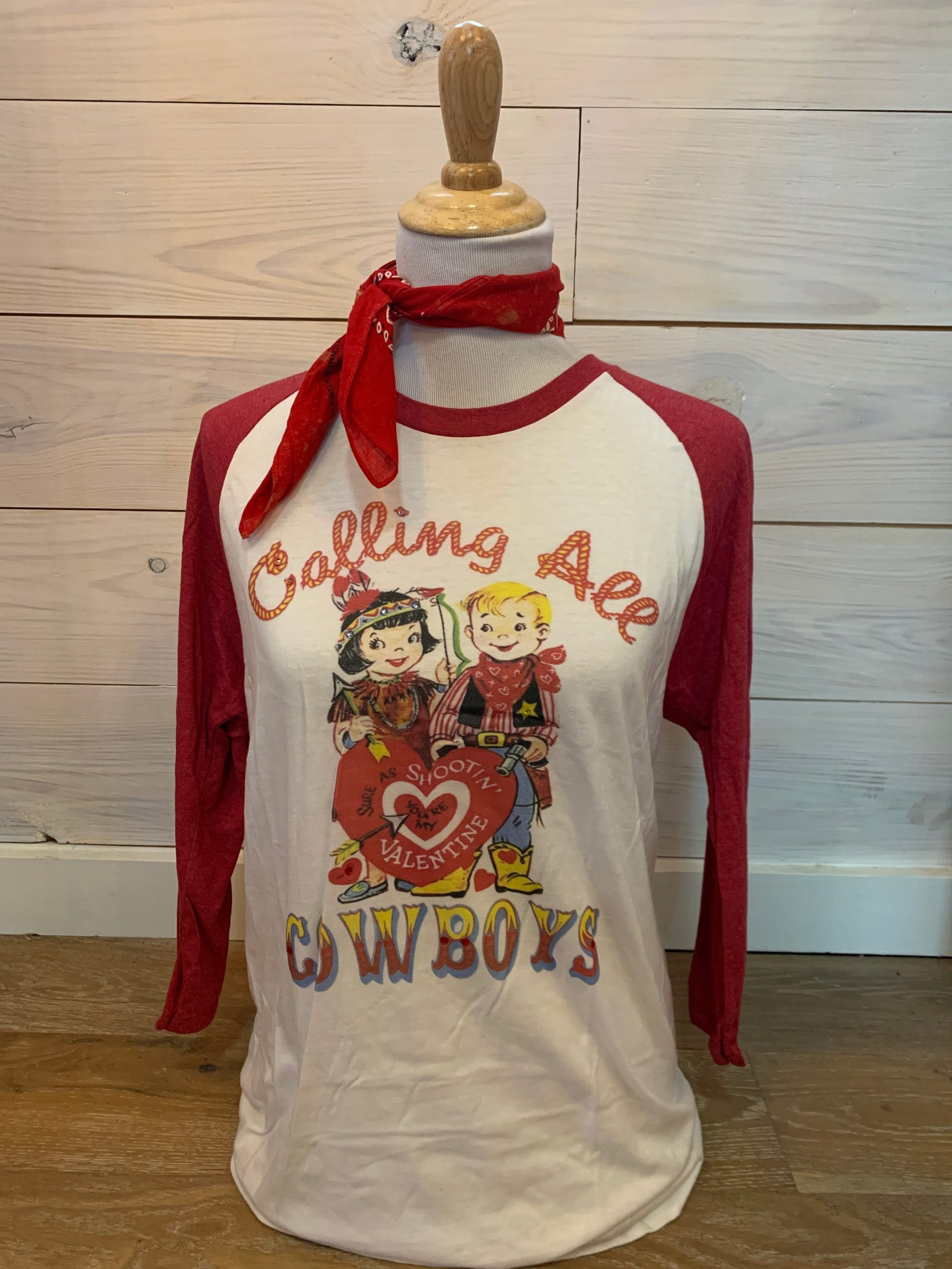 Calling All Cowboys on Heather Red White Baseball Tee