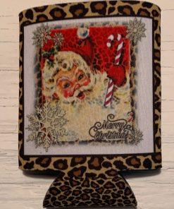 Candy Cane Santa on Leopard Koozie