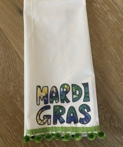 Tie Dye Mardi Gras Tea Towel With Poms